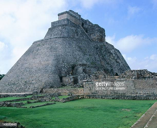The Pyramid of the Magician Puuc style building in Uxmal Yucatan Detail of the staircase Mayan Civilization 10th Century
