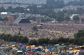The Pyramid stage audience and tents at the Glastonbury Festival in June 1992