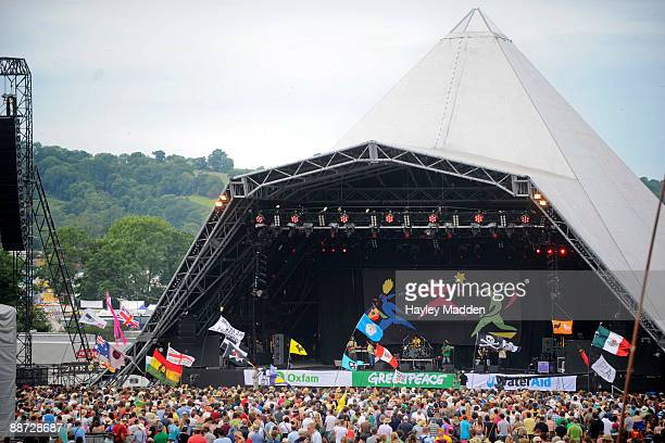The Pyramid Stage on the last day of Glastonbury Festival at Worthy Farm on June 28 2009 in Glastonbury England