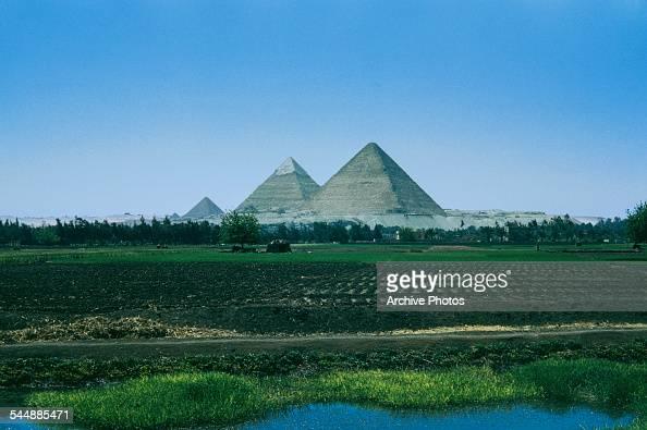 The pyramids in the Giza Necropolis just outside Cairo Egypt circa 1965