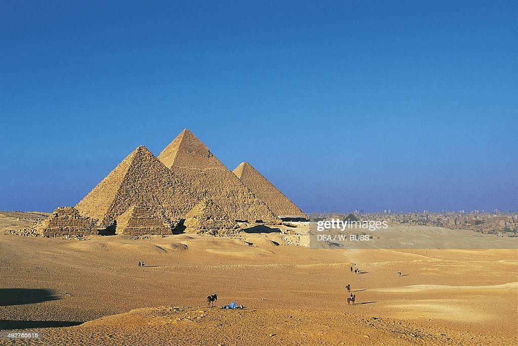 The Pyramids of Menkaure Khafre and Khufu Giza Necropolis Egypt Egyptian civilization Old Kingdom IV Dynasty