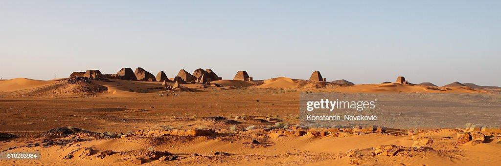 The pyramids of Meroe, Sudan : Stock Photo