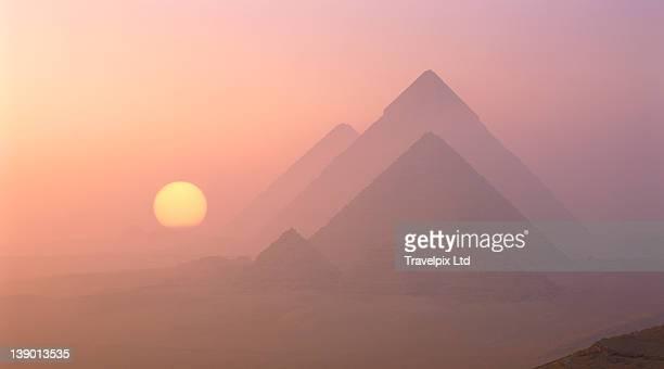 The Pyramids viewed at sunrise, Giza, Egypt