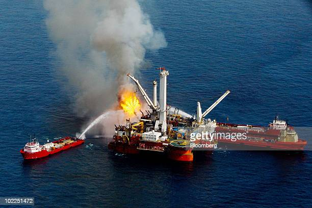 The Q4000 a vessel leased by BP Plc center burns off oil and gas it collected at the site of the BP Deepwater Horizon oil spill in the Gulf of Mexico...