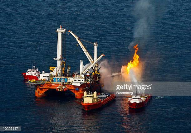 The Q4000 a vessel leased by BP Plc left burns off oil and gas it collected at the site of the BP Deepwater Horizon oil spill in the Gulf of Mexico...