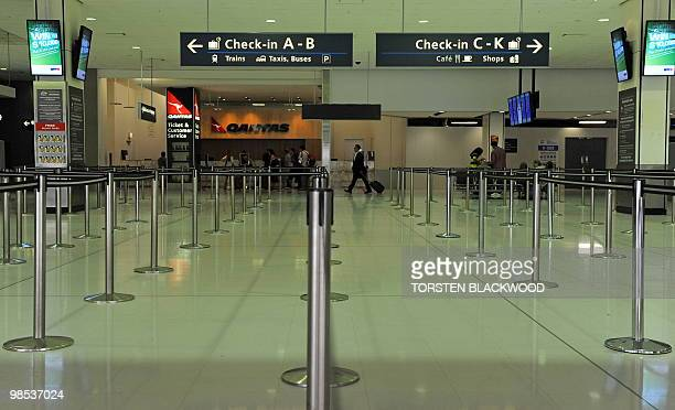 The Qantas checkin counters are all but deserted at Sydney International Airport on April 19 2010 after most flights to Europe were cancelled due to...