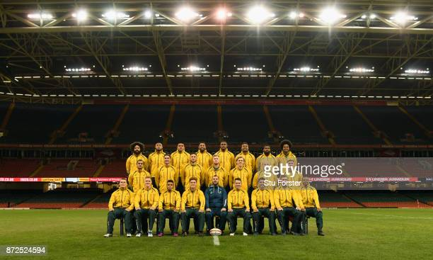 The Qantas Wallabies squad pictured ahead of their match tomorrow against Wales at Principality Stadium on November 10 2017 in Cardiff Wales