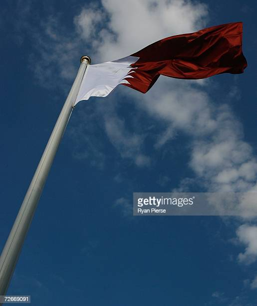 The Qatar national flag flys near the Road Cycling course prior to the start of the 15th Asian Games Doha 2006 November 29 2006 in Doha Qatar The...
