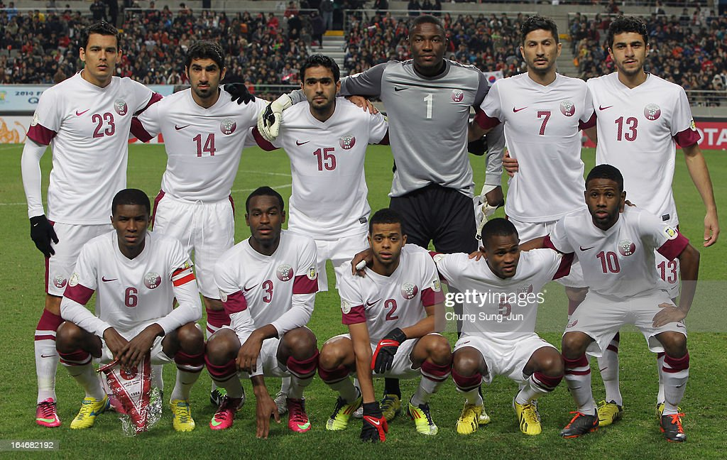 The Qatar team line up during the FIFA World Cup Qualifier match between South Korea and Qatar at Olympic Stadium on March 26, 2013 in Seoul, South Korea.
