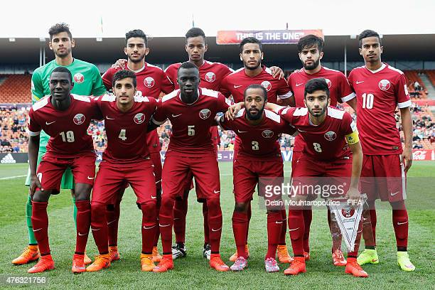 The Qatar team line up prior to the FIFA U20 World Cup New Zealand 2015 Group C match between Senegal and Qatar held at Waikato Stadium on June 6...