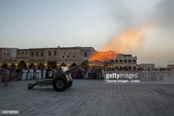 The Qatari armed forces fire a cannon in Souq Waqif to signal the end of the daily fast during the Holy month of Ramadan Breaking the fast is called...