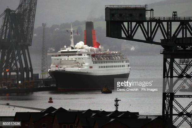 The QE2 gets ready to depart from Ocean Terminal in Greenock after its voyage to mark her 40th anniversary