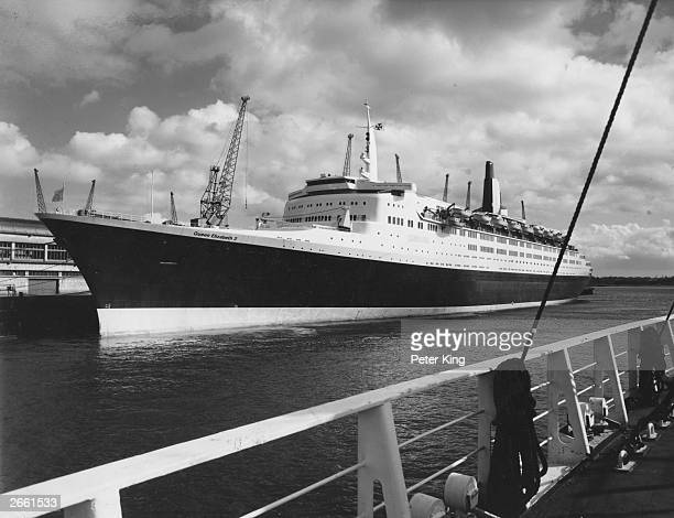 The QE2 liner moored alongside Southampton's Ocean terminal