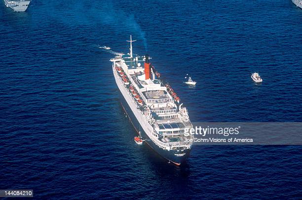 The QE2 sailing into New York Harbor for the Statue of Liberty centennial celebration July 4 1986