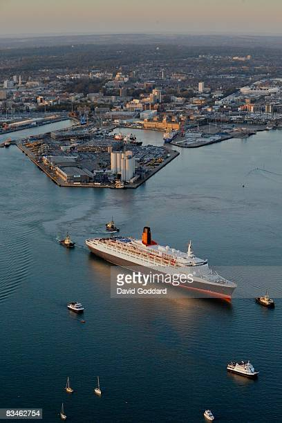 The QE2 sets sail for the penultimate time from her home port of Southampton in this aerial photo taken on October 22 2008 in Southampton England The...