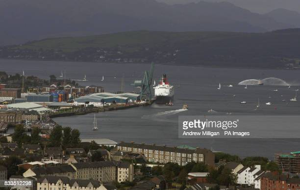The QE2 sits at the Ocean Terminal on the Firth of Clyde the liner arrived in Greenock this morning for its 40th Birthday