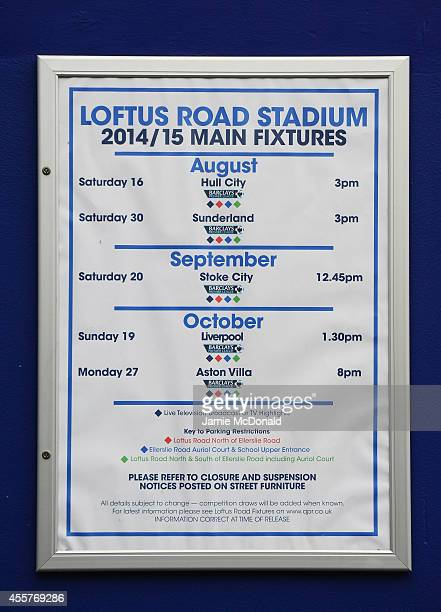 The QPR up and coming fixtures are displayed prior to the Barclays Premier League match between Queens Park Rangers and Stoke City at Loftus Road on...