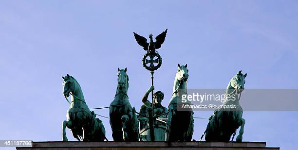 The quadriga at The Brandenburg Gate on January 07 2014 in Berlin GermanyThe Brandenburg Gate is a former city gate rebuilt in the late 18th century...