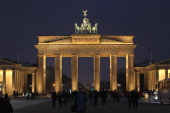 The Quadriga statue stands illuminated on top of the Brandenburg Gate on January 28 2011 in Berlin Germany The Brandenburg Gate is among the city's...