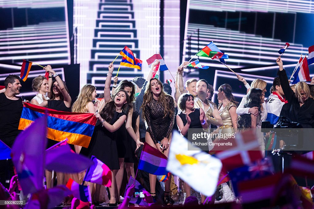 The qualifying performs gather on stage and celebrate after the first semifinal of the 2016 Eurovision Song Contest at Ericsson Globe Arena on May 10...