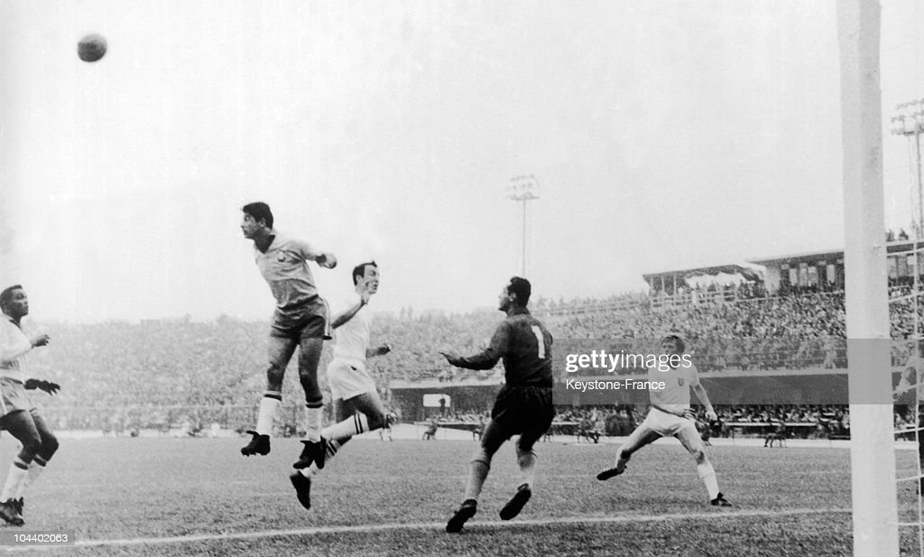 The quarter final of the soccer World Cup in VINA DEL MAR stadium in Santiago Chile Brazil was playing against England A Brazilian player shot with...
