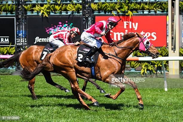 The Quarterback ridden by Matthew Allen wins Gilgai Stakes at Flemington Racecourse on October 02 2016 in Flemington Australia