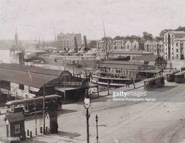 The quayside ships ferries trams and warehouses at Sydney Harbour Australia circa 1905 At centre left is the liner RMS Sierra of the Oceanic Company