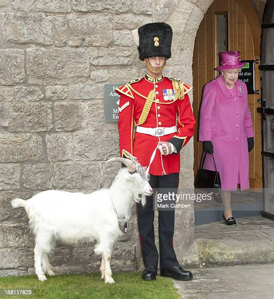 The Queen Accompanied By The Duke Of Edinburgh Visit Caernarfon Castle In North Wales During The Visit They Met Dai Davies From The 1St Royal Welsh...