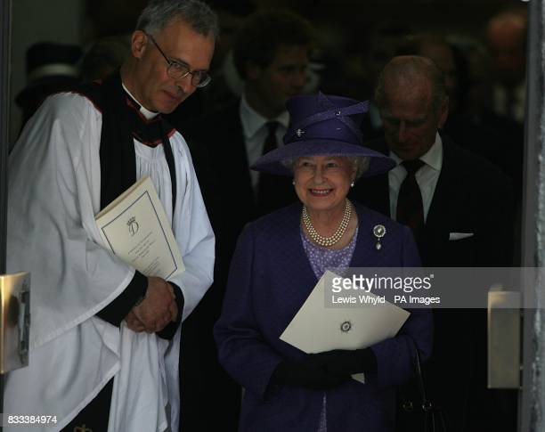 The Queen and Duke of Edinburgh leave the Service of Thanksgiving for the life of Diana Princess of Wales at the Guards' Chapel London PRESS...