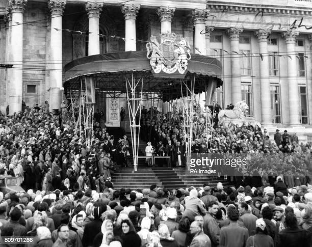 The Queen and Duke of Edinburgh on the steps of the restored Guildhall at Portsmouth during the opening ceremony The Guildhall destroyed in an air...