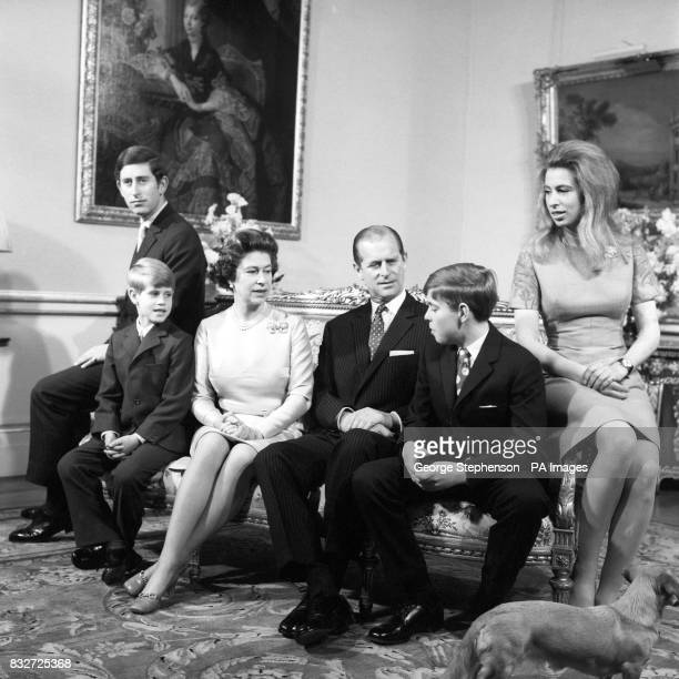 The Queen and Duke of Edinburgh with their children in the Belgian suite at Buckingham Palace to celebrate their Silver Wedding Left to right Prince...