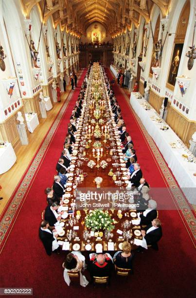 The Queen and Guests are seated in St Georges' Hall at Windsor Castle for the State Banquet in honour of the Hungarian President Arpad Goencz