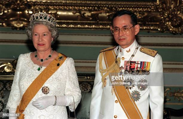 The Queen and King Bhumibol of Thailand at a state banquet at the Chakri Palace in Bangkok