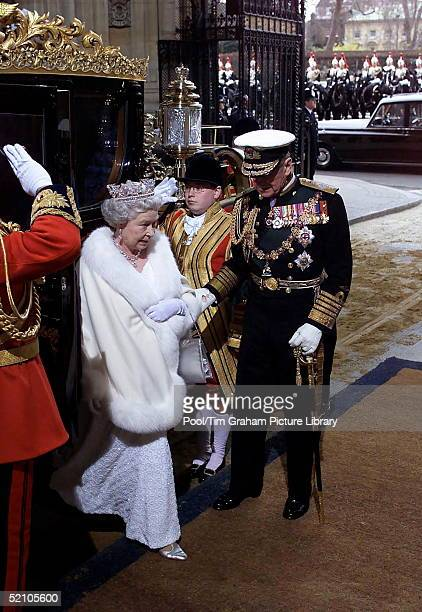 The Queen And Prince Philip Arriving At The Sovereign's Entrance Of The Palace Of Westminster For The State Opening Of Parliament In London