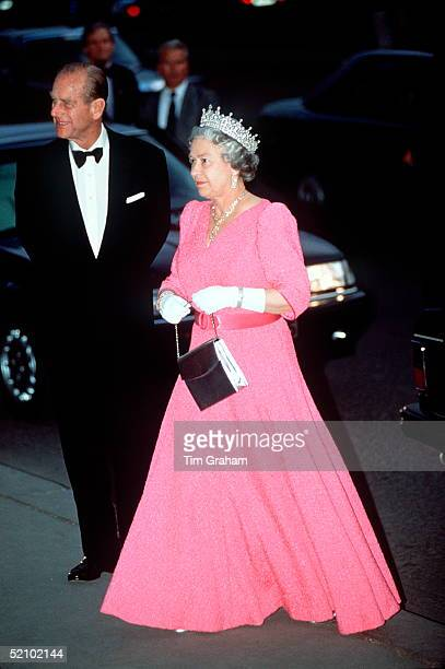 The Queen And Prince Philip Arriving For A Banquet During An Official Tour Of Hungary