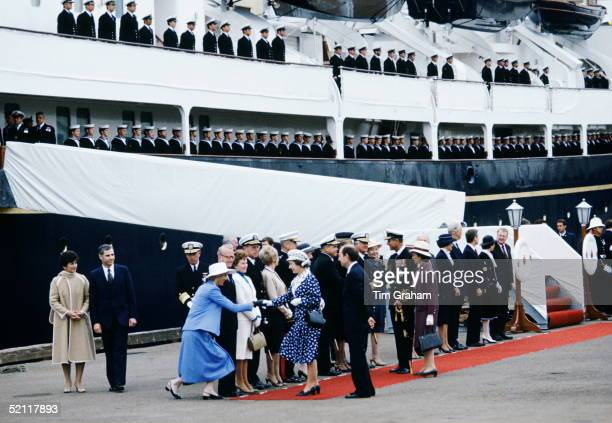 The Queen And Prince Philip Arriving In San Diego The Royal Yacht Britannia Is In The Background