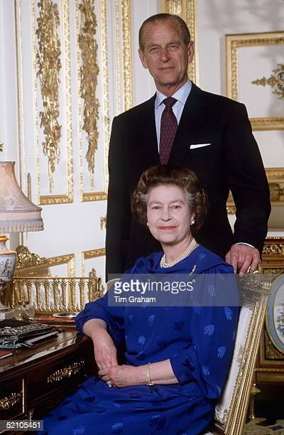 The Queen And Prince Philip At Home In The White Drawing Room In Windsor Castle Photographed For Their Ruby Wedding Anniversary