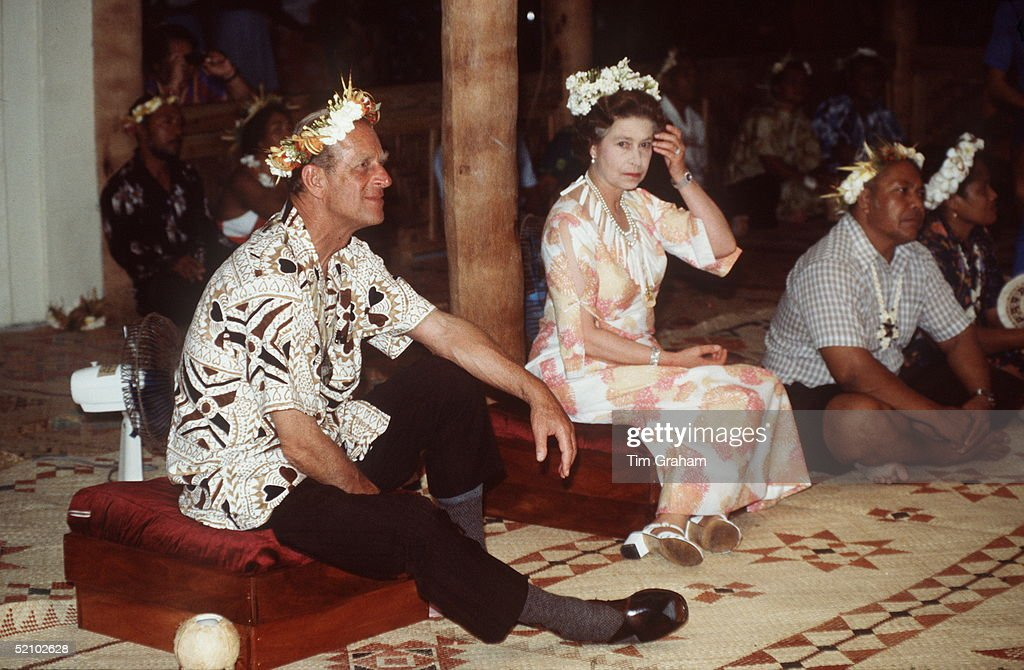 The Queen And Prince Philip Attending A Traditional Feast During Their Tour Of The South Pacific