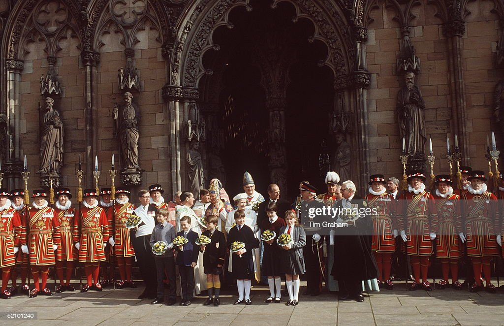 The Queen And Prince Philip Attending The Maundy Service At Lichfield Cathedral