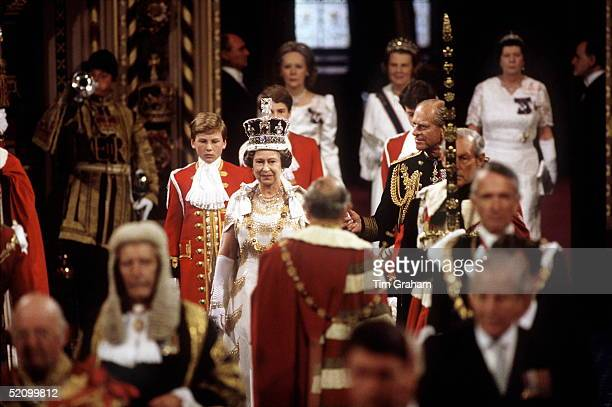 The Queen And Prince Philip Attending The State Opening Of Parliament The Queen Is Wearing The Imperial State Crown