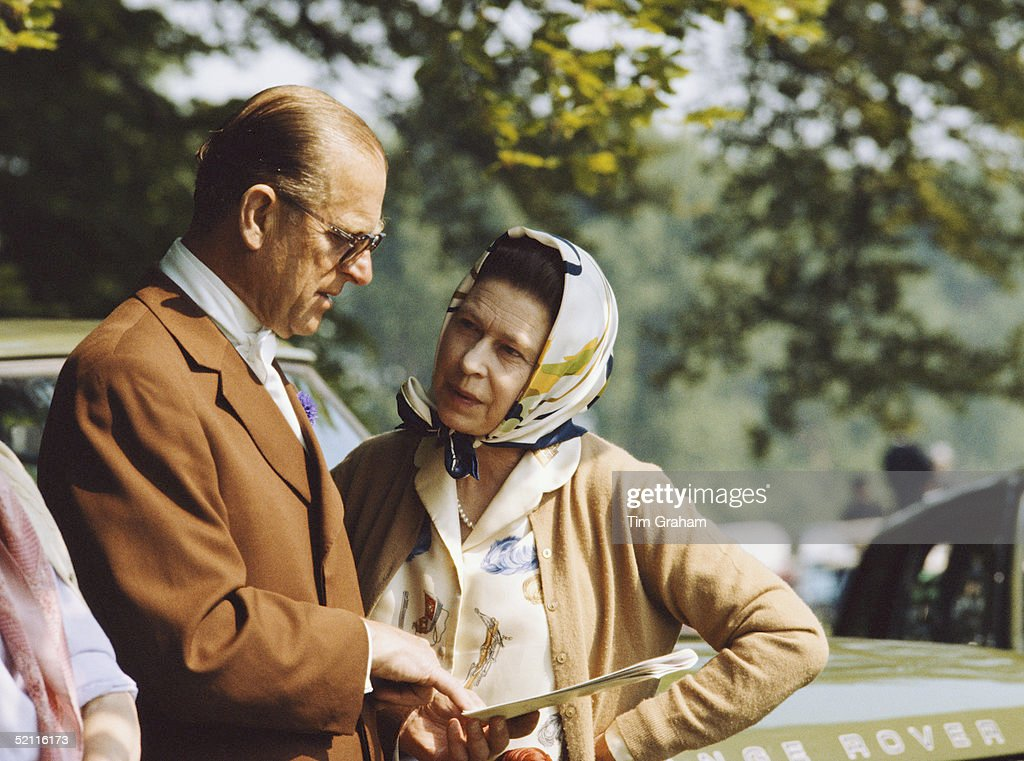 The Queen And <a gi-track='captionPersonalityLinkClicked' href=/galleries/search?phrase=Prince+Philip&family=editorial&specificpeople=92394 ng-click='$event.stopPropagation()'>Prince Philip</a> Chatting Together During The Royal Windsor Horse Show In The Grounds Of Windsor Castle.