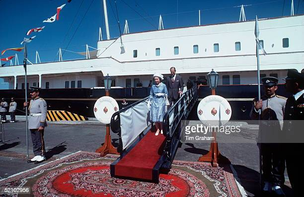 The Queen And Prince Philip Coming Ashore From The Royal Yacht Britannia To Say Farewell To The Amir Of Kuwait And His Ministers
