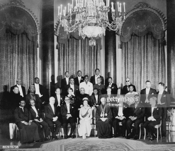 The Queen and Prince Philip held a dinner party for the Commonwealth Prime Ministers attending a conference at Buckingham Palace in London Sir Dawda...
