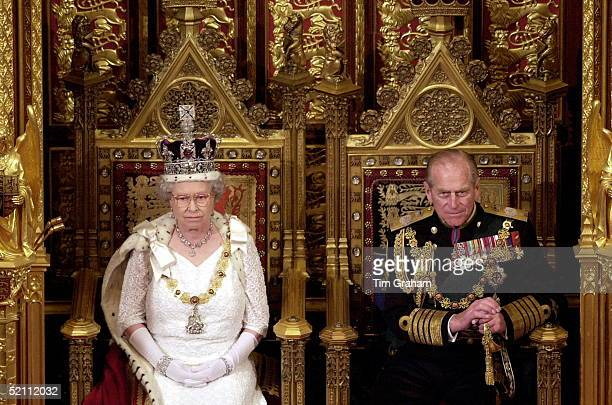 The Queen And Prince Philip In The House Of Lords At The State Opening Of Parliament In London