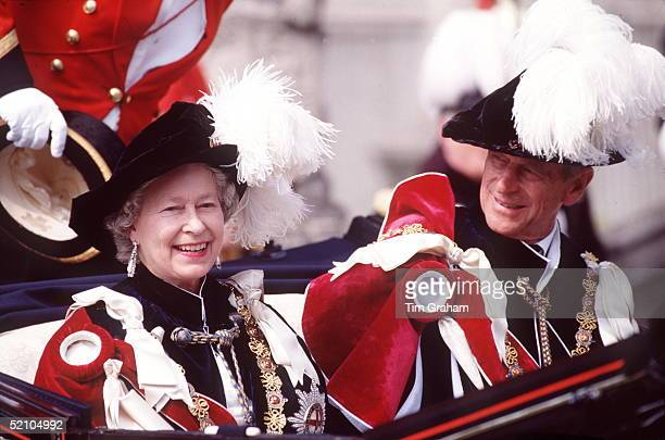 The Queen And Prince Philip In The Procession For The Garter Ceremony Windsor