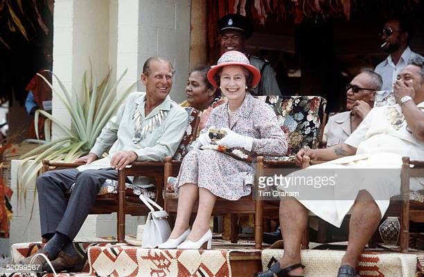The Queen And Prince Philip Laughing Together On A Visit To Tuvalu In The South Pacific