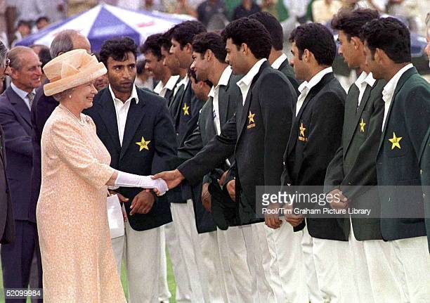 The Queen And Prince Philip Meeting The Pakistani National Cricket Team At Rawalpindi Cricket Club Islamabad Pakistan