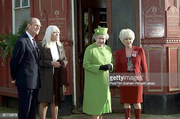 The Queen And Prince Philip Visiting The Set Of The ' Eastenders ' Television Show Meeting Barbara Windsor And Wendy Richards Outside The Queen Vic...