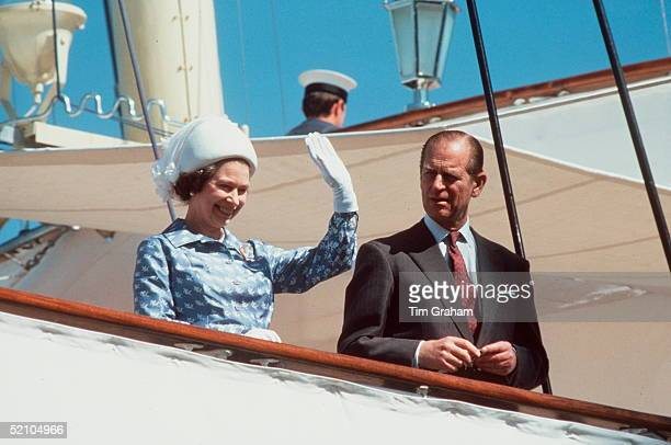 The Queen And Prince Philip Waving On Board Royal Yacht Britannia During An Official Visit To Kuwait During The Tour Of The Gulf