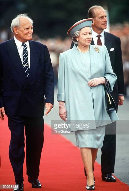 The Queen And Prince Philip With President Goncz Of Hungary In Parliament Square Budapest